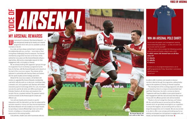 Fortress Featured in Arsenal Matchday Programme